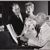 José Ferrer, Florence Henderson, and Noël Coward in rehearsal for the stage production The Girl Who Came to Supper