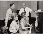 José Ferrer, Noël Coward, Florence Henderson, and rehearsal pianist Martha Johnson in rehearsal for the stage production The Girl Who Came to Supper