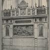 """Ściana W Katedrze wawelskiej, ozobiona srebrną płaskorzeźbą, J. Hakowskiego, stanowiącą kopię obrazu matejki: """"Sobieski pod Wiedniem"""""""
