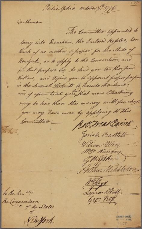 on 10/7/1776