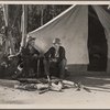 Squatters' camp on highway. Characters in scene from Resettlement film. Near Bakersfield, Calif. 1935.