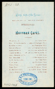 "MENU NEW YEAR 1892 [held by] HOFFMAN CAFES [at] ""HOFFMAN CAFES, NEW YORK, NY"" (REST;)"