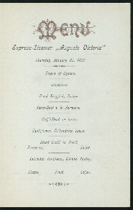 DINNER [held by] HAMBURG-AMERIKA LINIE [at] SS AUGUSTE VICTORIA (SS;)