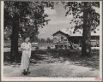 New House. Daughter of resettled farmer in foreground. Wolf Creek Farms, Ga.