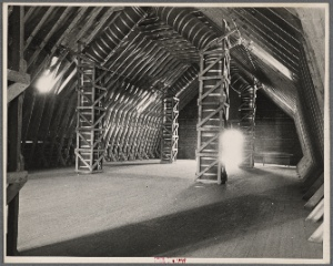 Top section of the new horse barn at the experimental farm of the United States Department of Agriculture. Prince Georges County, Beltsville, Maryland.