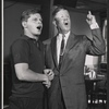 Robert Morse and Rudy Vallee in rehearsal for the stage production How to Succeed in Business