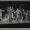 Charles Nelson Reilly, Robert Morse [center] and ensemble in the stage production How to Succeed in Business