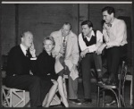 Cyril Ritchard, Tammy Grimes, Noel Coward, Roddy McDowall and George Baker in rehearsal for the stage production Look After Lulu