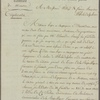Letter to Thomas Willing and Francis Banquier, Philadelphia
