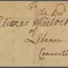 Letter to Eliazar Wheelock, Lebanon, Conn