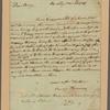 Letter to Benjamin Harrison, jr., Richmond