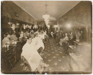View of Harlem barbershop.