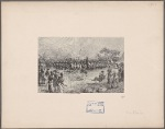 [Henry M. Stanley and others viewing a performance or ceremony by indigenous men carrying shields and spears]