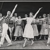 Carol Haney [center] Peter Gennaro [at right] and dancers in the stage production of The Pajama Game