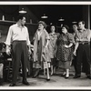 John Raitt, Janis Paige, and cast members in the stage production The Pajama Game.