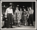 John Raitt, Janis Paige, Thelma Pelish [4th from left] Peter Gennaro [2nd from right] and unidentified performers in the stage production of The Pajama Game