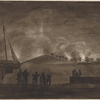 Sketch of the burning of the houses on Dorchester Neck, by our troops who went & returned upon the ice. 14 January, 1776.