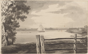 View of part of the rebel works round Walton's House, with the situation of our Batterys on Long Island--taken from N. York Island 8th Octr. 1776.