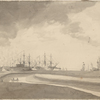 Landscape view of harbor, ships and two people in a row boat