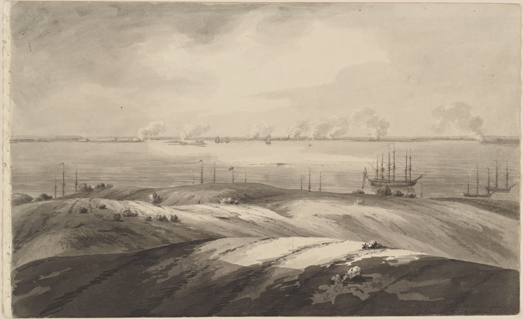 This is What Archibald Robertson and Taken from the height above the watering place on Staaten Island. View of the bay & town of New York with the Phoenix & Rose men of war passing their battery & going up Hudsons River. 12th July 1776 Looked Like  in 1776