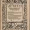 Pomponii melae de orbis sitv libri tres... [Title page]