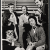 Sitting: Marian Seldes, L.P. (the dog), and Gene Trobnic; standing: director Mark Gordon (center) and two unidentified men in rehearsal for the stage production Before You Go
