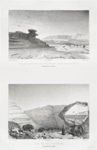 Vue du rocher des pélerins dans Ouadi Nasb [Wadi Nasb] (presqu'isle de Sinai); Vue de Ouadi Magara [Wadi Maghara] (presqu'isle de Sinai).