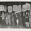 Picketers bearing signs urging President Harry Truman and the United States Congress to end Jim Crow practices in the Armed Forces; defeat the Smith-Mundt Act; and to pass legislation to end lynching, abolish the poll tax, and to create a permanent Fair Employmaent Practices Commission, ca. 1948