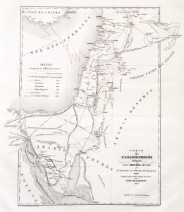 Carte de l'Arabie Pétrée indiquant les routes suivies par les  caravanes, les pélerins et les voyageurs depuis l'époque la plus reculée jusqu'à nos jours, par Léon de Laborde, 1833.