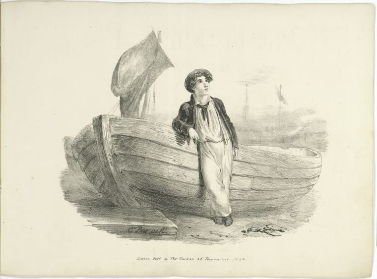 [Boy leaning against a boat.]