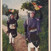 Oharame carrying herbs and flowers on their heads.