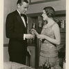 Herbert Marshall and Edna Best standing in the stage production There's Always Juliet.
