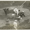 New York Giants player safe at home plate, in a World Series game against the Washington Senators.]