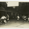The University of Illinois basketball squad demonstrates a favorite out of bounds scoring play.]