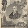 George Stephenson. A collier.  Holy Trinity Church, Chesterfield, Stephenson's burial place.  Killingworth High Pit.  The first railway suspension bridge.  Street House, Wylam, Stephenson's birthplace. See page 344.