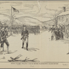 Baron Steuben drilling a squad before Washington's headquarters