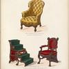 Ameublement: fauteuil confortable breveté, a dossier mobile; fauteuil-escalier, breveté