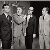 Darryl Hickman, Rudy Vallee and unidentified others in the stage production How to Succeed in Business