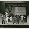 Sono Osato, Lyle Clark, Don Weismuller, Richard D'Arcy, Frank Westbrook, John Butler, and Duncan Noble in a scene from the stage production of On the Town (set design by Oliver Smith).