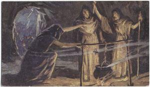 The three witches evoking spirits (Macbeth).