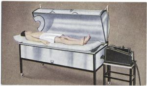 The sweat box (fever-therapy cabinet).