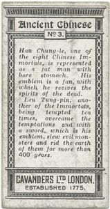 Ancient Chinese. [Chinese Immortals: Han Chung-le (with a fan) and Leu Tung-pin (with a sword)].