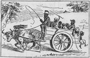 [Family of ten riding in a ox cart.]