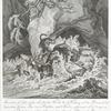 Anno 1678, ist diser grosse und starcke Hirsch bey Neuburg an der Donau in der Sogenanten Grüen Aue. von 3 Teutschen jagt Hunden gesprenget und so lange gejaget auch endlich forciert worden, sich samt ihnen über einen Felsen in die Donau zu stürzen und ist derselbe darin von 2 Hunden noch lebendig gefangen und auf der anderen seite an das ufer gebracht worden.