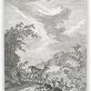 Ein Brunfft Hirsch mit Wild. Nach der Natur bey Schleissheim, Anno 1736, gezeichnet.