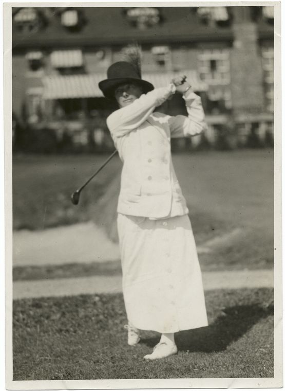 Mrs. R.H. Barlow of the Merion Cricket Club and champion of the Women's Eastern Golf Assoc[iatio]n who led in first day's tournament, national women's golf championship.