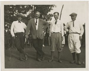Vardon and Ray lose to Chick Evans and Bobby Jones at the Morris County Count[r]y  Club, New Jersey, 9/18. Left to right : Bobby Jones, Edward Ray, Chick Evans and Harry Vardon.