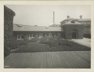 Ivy-covered exterior of Ellis Island building.
