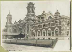 A view of the front facade, Immigration Station, Ellis Island.