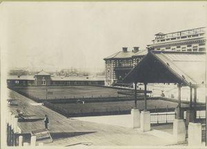 View of Ellis Island buildings.